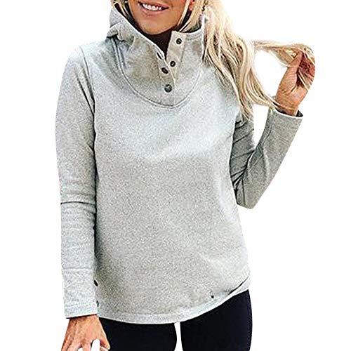 - ✩HebeTop Womens Oversized Long Sleeves Collar Quarter 1/21 Zip Pullover Sweatshirts Gray
