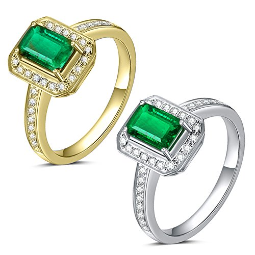 Natural Columbia Emerald Gemstone Pave Diamond 14K White or Yellow Gold Wedding Engagement fashion Band Ring Set for Women ()