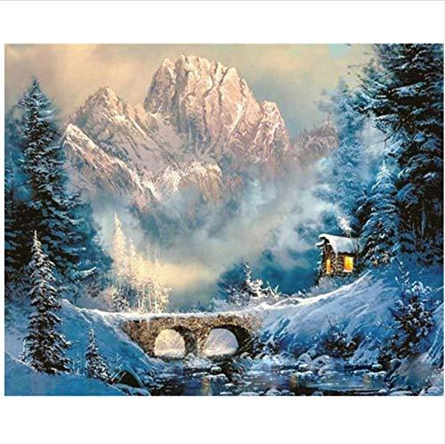 CZYYOU DIY Digital Malen Nach Zahlen Tal Winter Schnee Ölgemälde Wandbild Kits Färbung Wandkunst Bild Geschenk - Mit Rahmen - 40x50cm B07PPPG65D | Günstige