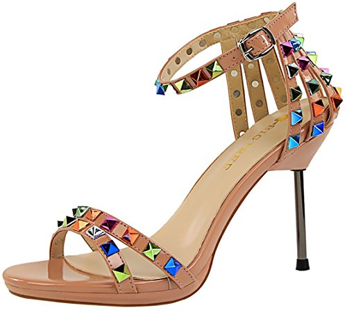 Beige Sandals Toe Stiletto Catxax Buckle 5CM Women Shoes Peep 9 Calaier 8nBfWav76c