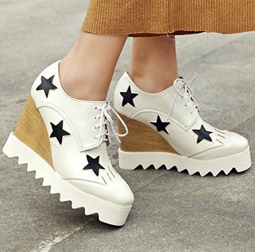 Summerwhisper Vrouwen Trendy Sterren Vierkante Teen Lace-up Pumps Schoenen Wedge Hoge Hak Platform Sneakers Wit
