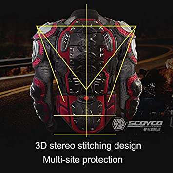 Red,L SCOYCO Motorcycle Safety Amor,Chest Back Protector Armor Gear Motorcross Vest Moto Armor Protective Gear Vest clothing