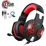 Gaming Headset with RGB LED Light for PS4 Xbox one Nintendo Switch Cell Phone PC Mac Laptop,Over Ear headphones with Noise Canceling Microphone,3.5mm Stereo Gaming Headset with in-line Mic(Red)