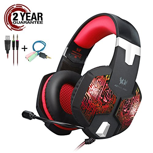 Gaming Headset with Mic and USB RGB LED Light for PS4 Xbox One PC Nintendo Switch,Lightweight Stereo Sound Over Ear Headphones,Soft Memory Earmuffs & Noise Cancelling & Volume Control (Red) by KOTION EACH