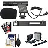 Vidpro Mini Condenser Microphone with Video Light & Bracket + Accessory Kit for Canon DSLRs, Camcorders & Video Cameras
