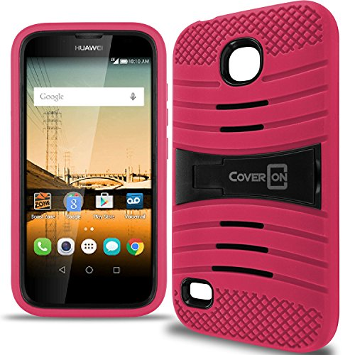 Huawei Union Case, CoverON [Titan Armor Series] Dual Layer Hybrid Cover Kickstand Phone Case For Huawei Union - Hot Pink & (Pk10 Union)