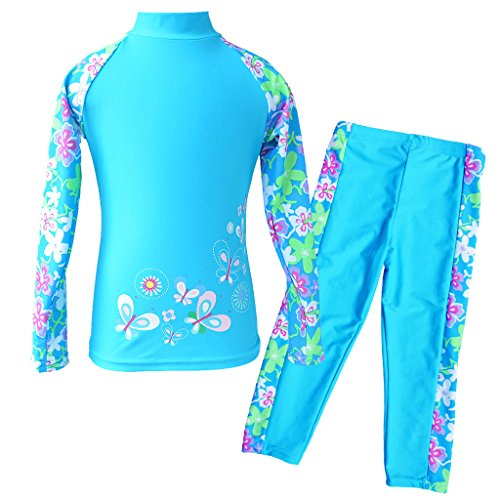 TFJH E Girls Swimsuit UPF 50+ UV Two-Piece Rash Guard Suits Blue Long 5-6 Years 6A ()