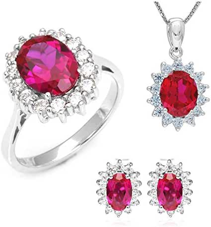 JewelryPalace Women's Princess Diana William Kate Middleton's 7.9ct Created Red Ruby Jewelry Sets Engagement 925 Sterling Silver Ring Pendant Necklace Stud Earrings