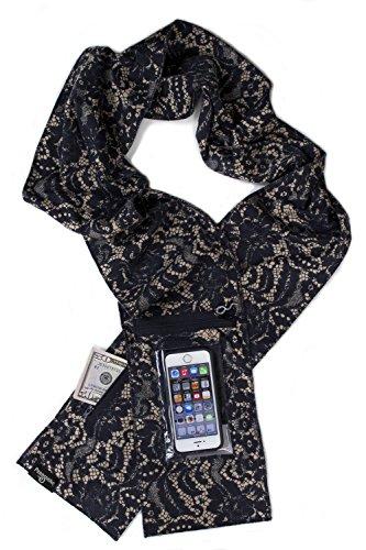 Peepsnake Smartphone Scarf Sash- Touchscreen Pocket- Camera Window- Lace - Lace Print Scarf