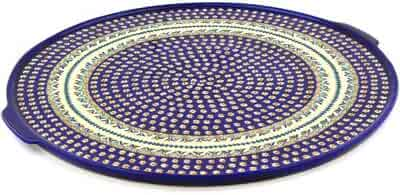 Polish Pottery Pizza Plate 17-inch Floral Peacock UNIKAT