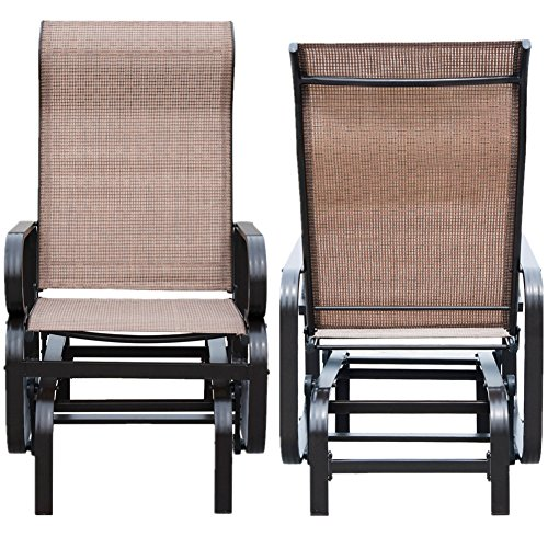 Patiopost sling glider outdoor patio chair textilene mesh for Mesh patio chairs