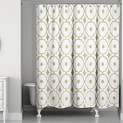 Amazon Designs Direct Glam Golden Quatrefoil Shower Curtain L