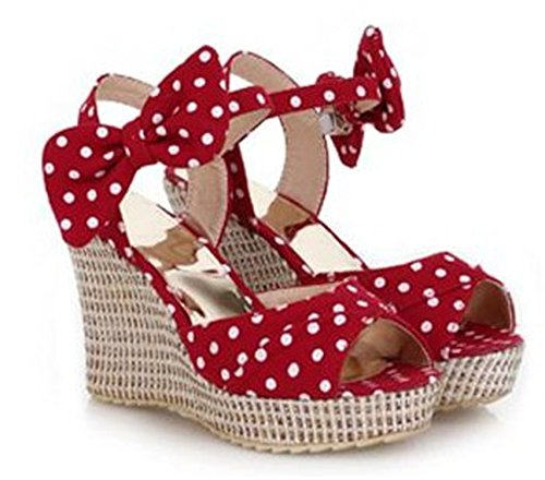 Price comparison product image Baqijian Summer Platform Shoes Ladies Fish toe Polka dot Bow Platform Wedges Heels Women Shoes Two Piece Ladies Shoes Red Blue 3 75