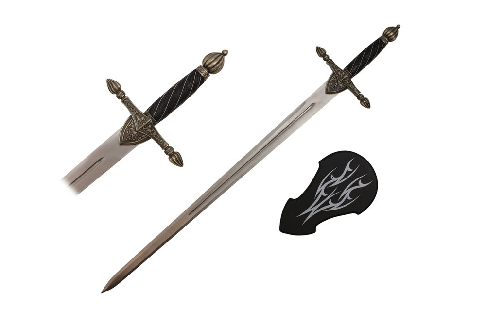 44'' Medieval Sword with Wall Plaque