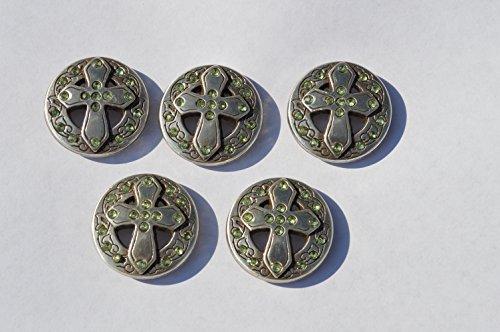 5 Enmon Green Rhinestone Cross Concho Leather Western Round Silver Belt