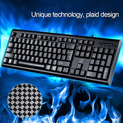 Black Color : Black Wired Computer Gaming Keyboard 104 Keys USB Wired Grid Texture General Gaming Office Keyboard