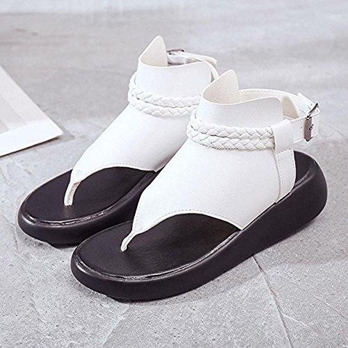 Puntera Mujer Opcbreath Blanco color Redonda De Para Estilo Sandalias Vintage Planas qxtpHxSaw