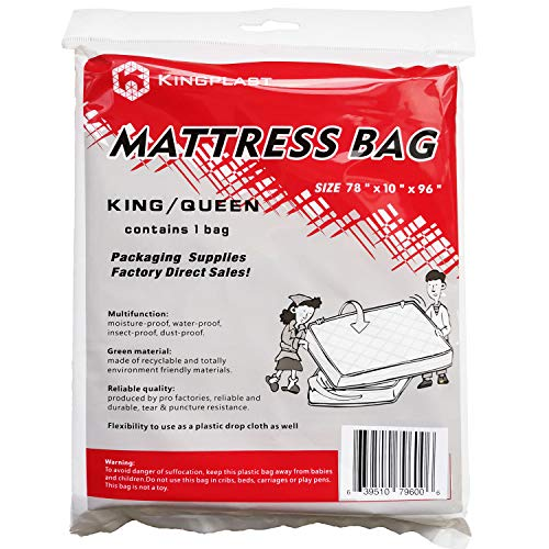 K KINGPLAST Mattress Bag for Moving, Clear Plastic Disposal Mattress Storage Bag Cover for Waterproof, Bedbugs