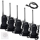 Retevis RT1 2 Way Radio 10W UHF 400-520 MHz 16 Channel 1750Hz Tone VOX Scrambler Walkie Talkies Handheld Mobile Transceiver with Earpiece Ham Amateur Radio (5 Pack) and Programming Cable