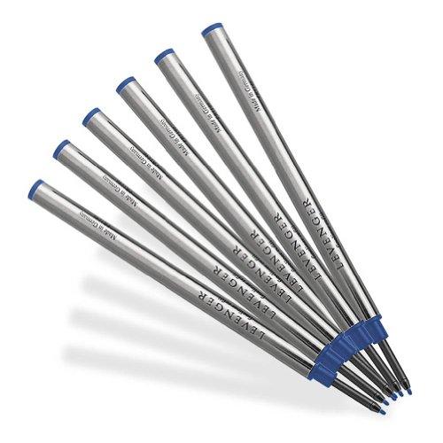 Levenger 6 Levenger Medium Fiber Tip Refills - Blue