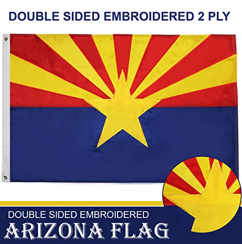 G128 - Arizona State Flag | 3x5 feet | Double Sided Embroidered 210D - Indoor/Outdoor, Brass Grommets, Heavy Duty Polyester, 2-ply ()