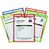 C-Line 43910 Shop Ticket Holder for 9x12 Insert, Taped & Neon Stitched Edges, Clear, 25/box