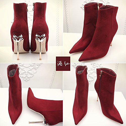 Autumn and winter new pointed high heels 10 centimeters of metal thin and short boots 43 wine red HZr9Borks