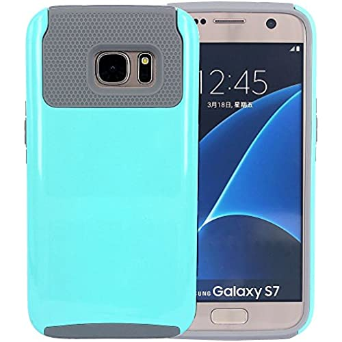 Galaxy S7 Case, CNCASE Dual Layer 2-Piece Style Hybrid Hard Shockproof Bumper Case Cover for Samsung Galaxy S7 - Mint & Grey Sales