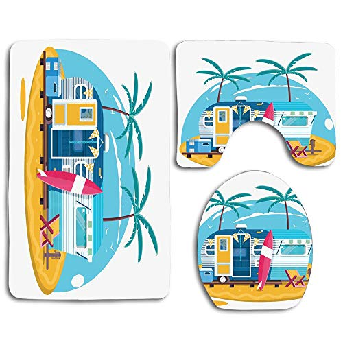 NEWcoco 3PCS Toilet Carpet Mats Seat Cushion CoverTraveler Trailer with Boards for Surfing on a Beach Tropical Trees Summer Vacation