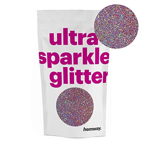 Hemway Premium Multi Purpose Glitter Dust Powder 100g/3.5oz Arts & Crafts Wine Glass Decoration Weddings Cards Flowers Cosmetic Face Eye Body Nails Skin Hair (Rose Gold Holographic)