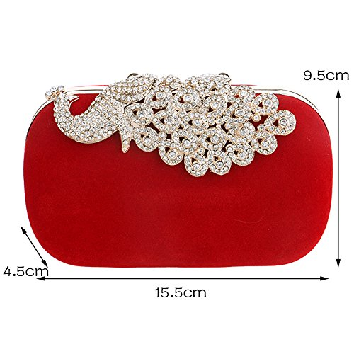 Shoulder Clutch Bag Wedding Bridal Wedding Purse Handbags For Rhinestones Ym1022red YrRXxY