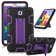 "Samsung Galaxy Tab 4 7.0 Case, Jwest [Kickstand] Full-body Rugged Hybrid Protective Dual Layer Design/Impact Resistant Bumper Case for Samsung Galaxy Tab 4 7.0"" inch T230 (Black+Purple)"