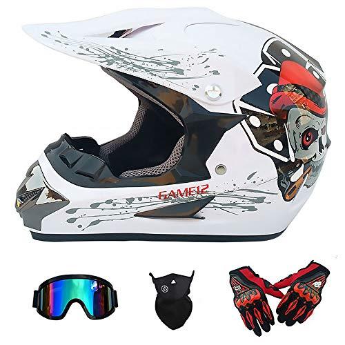 Y.P Full Face Motocross Helmet Men Women Motorcycle Helmet Adult Off Road Motorbike Bicycle ATV/MX/BMX/Downhill/Enduro/MTB Helmet D.O.T Certified(White) ()