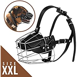No Bark Muzzle - Adjustable Prime Leather and Iron Cage Dog Muzzle Mask | Provide All-Around Protection | Brilliant Basket Design for Size XXL Dog Allows Panting Drinking | Black Chrome | 122