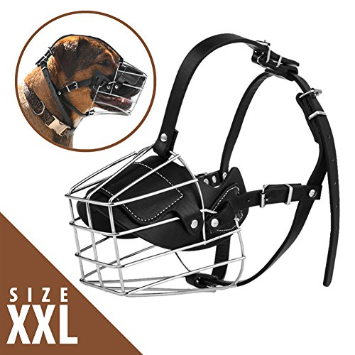 No Bark Muzzle - Adjustable Prime Leather and Iron Cage Dog Muzzle Mask | Provide All-Around Protection | Brilliant Basket Design for Size XL Dog Allows Panting Drinking | Black Chrome | 122