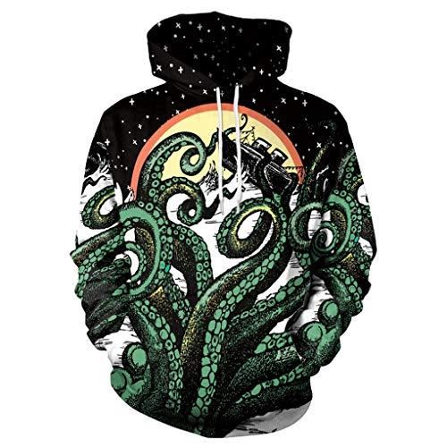 Memoryee 3D Realistic Octopus Graphic Design Pullover Fleece Sweatshirts Hoodie for Youth Women Men (L, Octopus 5)