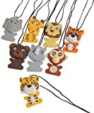 Wiggling Wild Animal Pendant Necklaces 12 Count