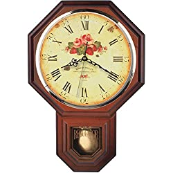 Vintage Rose Classic Traditional Schoolhouse Pendulum Wall Clock Chimes Every Hour With Westminster Melody Made in Taiwan, 4AA Batteries Included (PP0258-F Dark Wooden Grain)