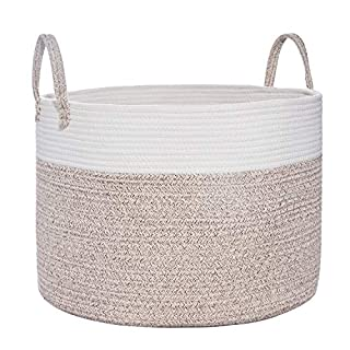 "Large Cotton Rope Basket | Wide 20"" x 14"" Blanket Storage Basket with Long Handles 