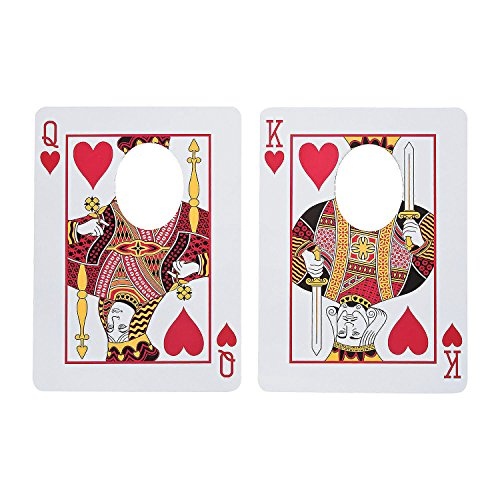 Fun Express - Casino Playing Card Face Cutouts (2pc) for Wedding - Party Decor - Wall Decor - Cutouts - Wedding - 2 Pieces
