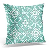 Flower Damask Classical Luxury Old Fashioned Royal Victorian for Exquisite Floral Baroque Stencil Leaf Decorative Pillow Case Home Decor Square 18x18 Inches 45cm