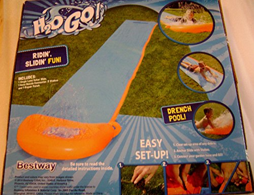 H2O Go Lawn Water Slide 16 Feet Single Rider Lane Drench Poo
