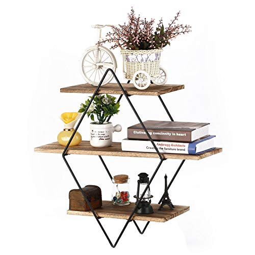 Homode Floating Shelves, 3 Tier Geometric Diamond Wall Shelves, Wood and Metal Art, Rustic Farmhouse - Geometric Shelf