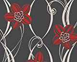 PANDORA - Modern Luxury Floral Flower Modern Red, Black Wallpaper Roll Wall Decor