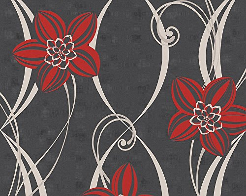 PANDORA - Modern Luxury Floral Flower Modern Red, Black Wallpaper Roll Wall Decor by A.S. Creation