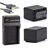 Battery (2-Pack) and Micro USB Charger For Panasonic HC-VX981 HC-VX981K 4K Ultra HD Camcorder