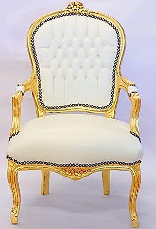 Moreko Barock Stuhl Antik Stil Massiv Holz Sessel Gold Weiss