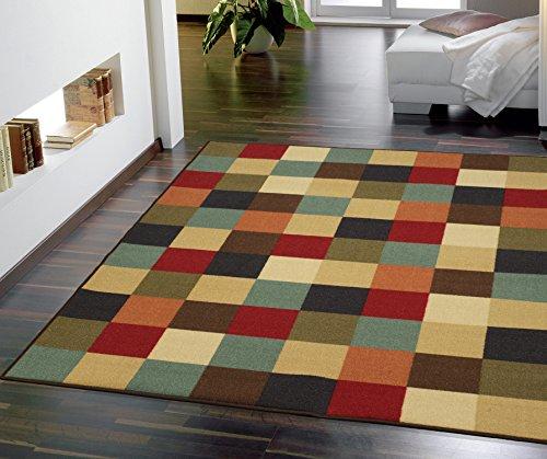 Ottomanson Boxes Ottohome Collection Contemporary Checkered Design Modern Area Rug Skid (Non-Slip) Rubber Backing, 5'0