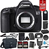 Canon EOS 5DS R Digital SLR Camera (Body Only)- Bundle with 2X 64GB Memory Cards + Spare Battery + Digital Slave Flash + More (International Version)