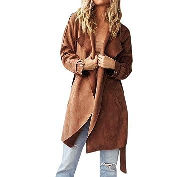Wintermantel Damen Mantel,Frauen Mode Solide Turndown Kragen